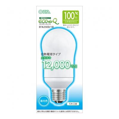 電球形蛍光灯 E26 100形相当 昼光色 エコデンキュウ