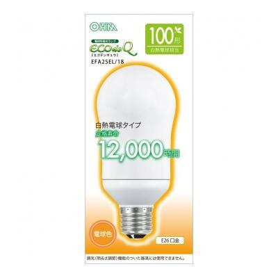 電球形蛍光灯 E26 100形相当 電球色 エコデンキュウ