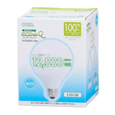 電球形蛍光灯 ボール形 E26 100形相当 昼光色 エコデンキュウ