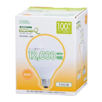 電球形蛍光灯 ボール形 E26 100形相当 電球色 エコデンキュウ