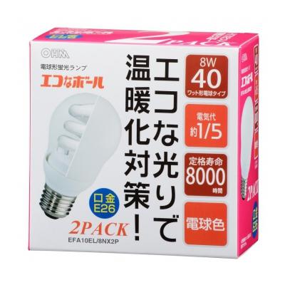 電球形蛍光灯 E26 40形相当 電球色 エコなボール 2個入