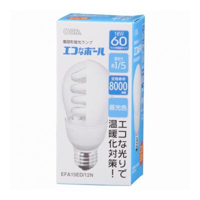 電球形蛍光灯 E26 60形相当 昼光色 エコなボール