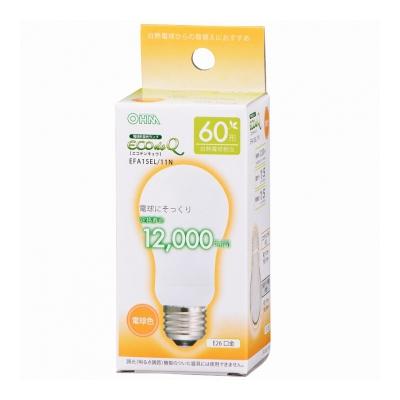 電球形蛍光灯 E26 60形相当 電球色 エコデンキュウ