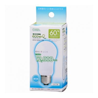 電球形蛍光灯 E26 60形相当 昼光色 エコデンキュウ