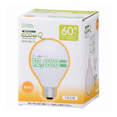 電球形蛍光灯 ボール形 E26 60形相当 電球色 エコデンキュウ