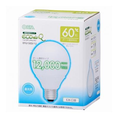 電球形蛍光灯 ボール形 E26 60形相当 昼光色 エコデンキュウ