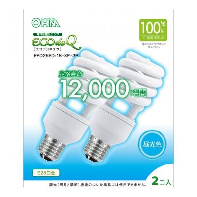 電球形蛍光灯 スパイラル形 E26 100形相当 昼光色 エコデンキュウ 2個入