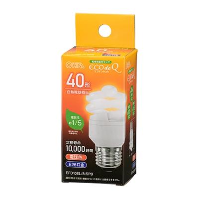 電球形蛍光灯 スパイラル形 E26 40形相当 電球色 エコデンキュウ [品番]06-3770