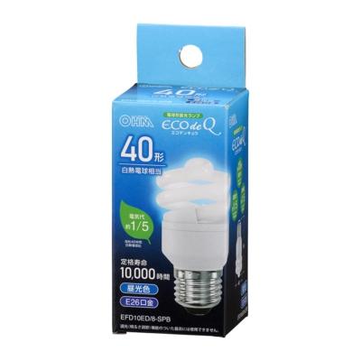電球形蛍光灯 スパイラル形 E26 40形相当 昼光色 エコデンキュウ [品番]06-3771