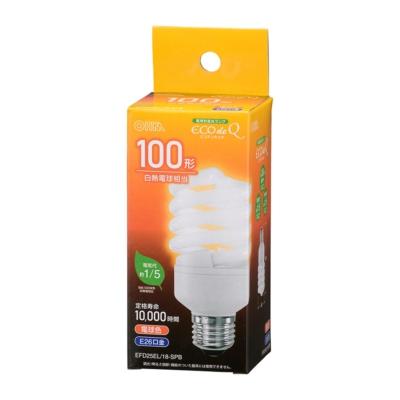 電球形蛍光灯 スパイラル形 E26 100形相当 電球色 エコデンキュウ [品番]06-3776