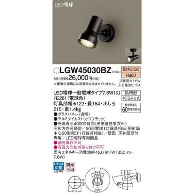 LEDスポットライト・勝手口灯 電球色 天井・壁直付型 防雨型【ランプ
