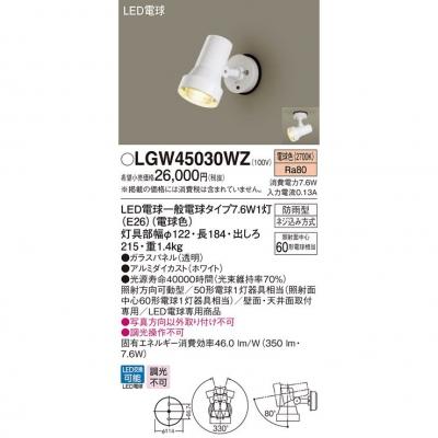 LEDスポットライト・勝手口灯 電球色 天井・壁直付型 防雨型【ランプ同梱】