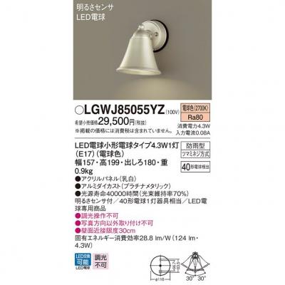 LED表札灯 電球色 壁直付型 防雨型・明るさセンサ付 パネル付型