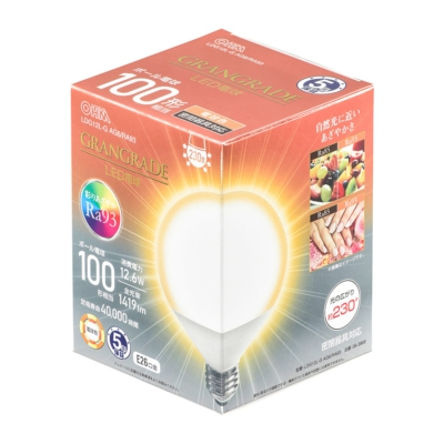 LED電球 ボール電球形 E26 100形相当 電球色 [品番]06-3869