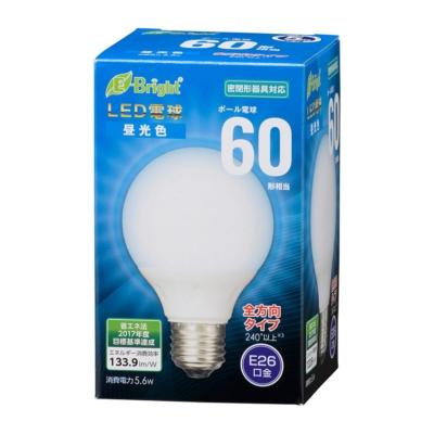 LED電球 ボール電球形 E26 60形相当 全方向 昼光色 [品番]06-3598