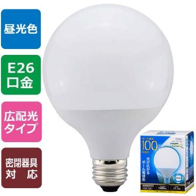LED電球 ボール形 E26 100形相当 昼光色 [品番]06-0760