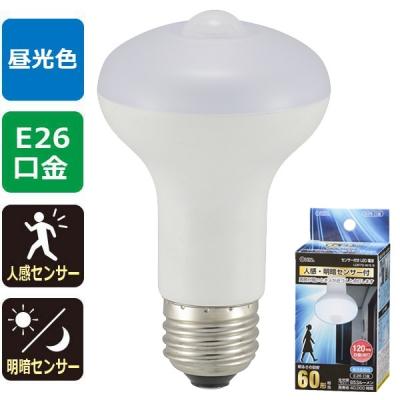 LED電球 レフランプ形 E26 60形相当 人感明暗センサー付 昼光色 [品番]06-0790