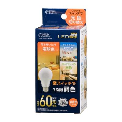 LED電球 E26 60形相当 3段階調色 電球色スタート [品番]06-3427