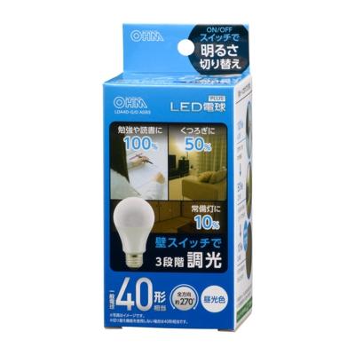 LED電球 E26 40形相当 3段階調光 昼光色 [品番]06-3424
