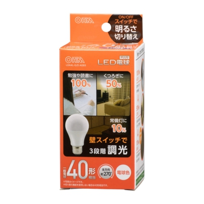 LED電球 E26 40形相当 3段階調光 電球色 [品番]06-3423