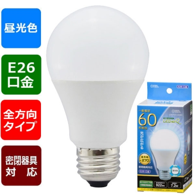 LED電球 E26 60形相当 昼光色 [品番]06-3408