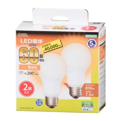 LED電球 E26 60形相当 広配光 電球色 2個入 [品番]06-3299