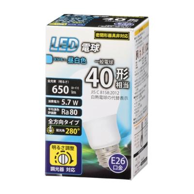 LED電球 E26 40形相当 調光器対応 昼白色 [品番]06-1872