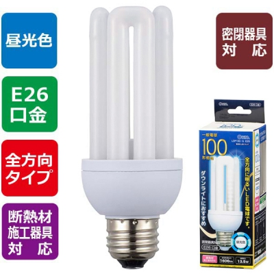 LED電球 D形 E26 100形相当 昼光色 [品番]06-1685
