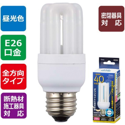 LED電球 D形 E26 40形相当 昼光色 [品番]06-1677
