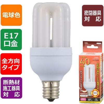 LED電球 D形 E17 40形相当 電球色 [品番]06-1672