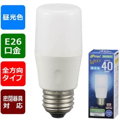 LED電球 T形 E26 40形相当 昼光色 [品番]06-3606
