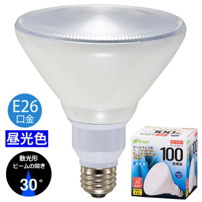 LED電球 ビームランプ形 散光形 E26 100形相当 昼光色 [品番]06-3124