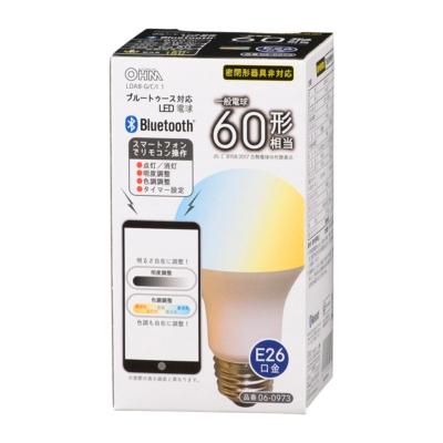 LED電球 Bluetooth対応 E26 60形相当 広配光 調色タイプ [品番]06-0973
