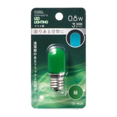 LEDナツメ球装飾用 T20/E17/0.8W/3lm/緑色 [品番]06-4626