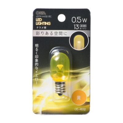 LEDナツメ球装飾用 T20/E12/0.5W/13lm/クリア黄色 [品番]06-4612