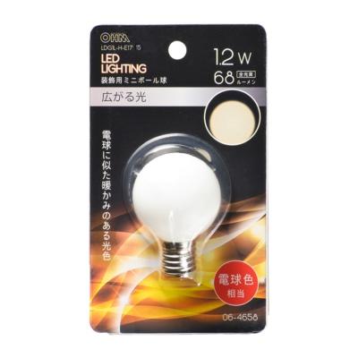 LEDミニボール球装飾用 G40/E17/1.2W/68lm/電球色 [品番]06-4658