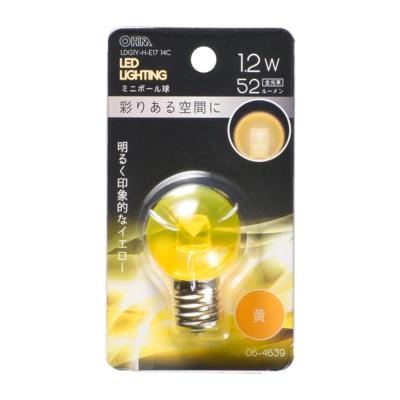 LEDミニボール球装飾用 G30/E17/1.2W/52lm/クリア黄色 [品番]06-4639
