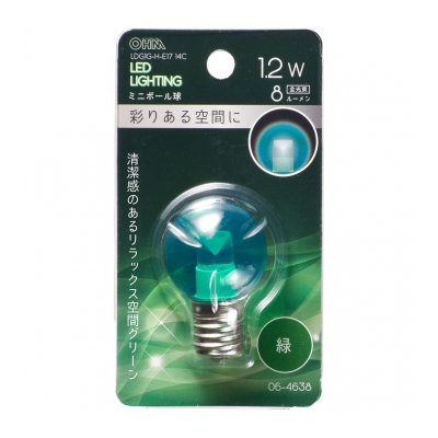 LEDミニボール球装飾用 G30/E17/1.2W/8lm/クリア緑色 [品番]06-4638