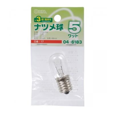 ナツメ球 E17/5W クリア [品番]04-6183