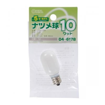 ナツメ球 E12/10W ホワイト [品番]04-6178
