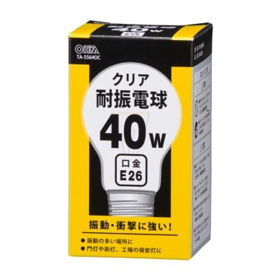 耐振電球 E26 40W クリア [品番]06-0581