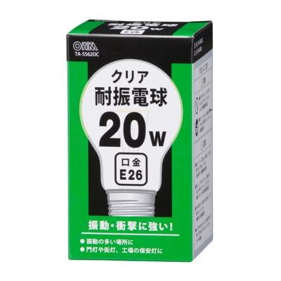 耐振電球 E26 20W クリア [品番]06-0580