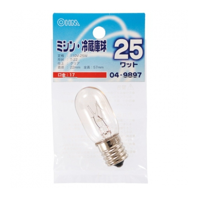 ミシン・冷蔵庫球 T22型 E17/25W クリア [品番]04-9897