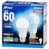 LED電球 E26 60形相当 全方向 昼光色 2個入り [品番]06-4354