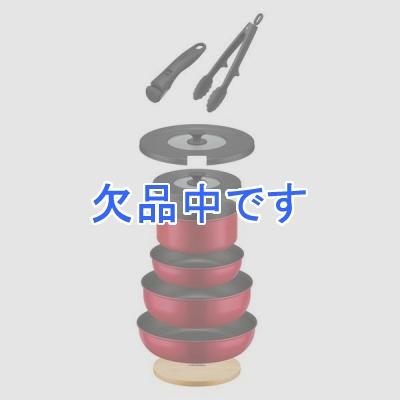 取っ手の取れるフライパン9点セット レッド 赤 フライパン 鍋 18cm 20cm 24cm 26cm IH ガス 両対応