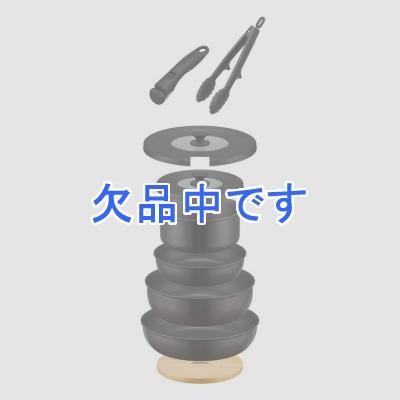 取っ手の取れるフライパン9点セットブラック 黒 フライパン 鍋 18cm 20cm 24cm 26cm IH ガス 両対応