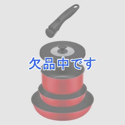 取っ手の取れるフライパン5点セット赤 レッド ブライトレッド フライパン 鍋 18cm 20cm 26cm ガス火専用