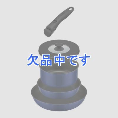 取っ手の取れるフライパン5点セット紺 ネイビー 青 ブルー インディゴブルー フライパン 鍋 18cm 20cm 26cm ガス火専用