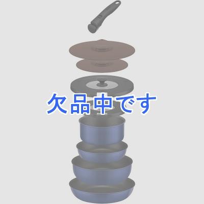 取っ手の取れるフライパン9点セット紺 ネイビー 青 ブルー インディゴブルー フライパン 鍋 18cm 20cm 26cm ガス火専用